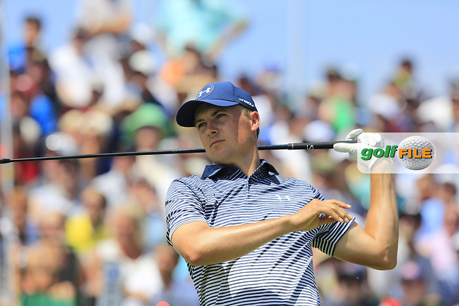 Jordan Spieth (USA) tees off the 1st tee to start his match during Friday's Round 2 of the 117th U.S. Open Championship 2017 held at Erin Hills, Erin, Wisconsin, USA. 16th June 2017.<br /> Picture: Eoin Clarke | Golffile<br /> <br /> <br /> All photos usage must carry mandatory copyright credit (&copy; Golffile | Eoin Clarke)