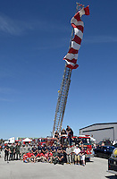 NWA Democrat-Gazette/BEN GOFF @NWABENGOFF<br /> Military, police, fire and other first responders in attendance pose for a group photo on Saturday Sept. 12, 2015 during the Sheep Dog Impact Assistance annual Patriot Day event at Bentonville Municipal Airport. The event honored the victims of the Sept. 11, 2001 terrorist attacks and offered visitors a chance to get an up close look at military and emergency response vehicles.