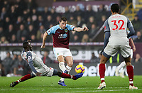Burnley's Chris Wood competing with Liverpool's Naby Keita<br /> <br /> Photographer Andrew Kearns/CameraSport<br /> <br /> The Premier League - Burnley v Liverpool - Wednesday 5th December 2018 - Turf Moor - Burnley<br /> <br /> World Copyright &copy; 2018 CameraSport. All rights reserved. 43 Linden Ave. Countesthorpe. Leicester. England. LE8 5PG - Tel: +44 (0) 116 277 4147 - admin@camerasport.com - www.camerasport.com