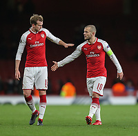 Rob Holding of Arsenal and Jack Wilshere of Arsenal after the UEFA Europa League match between Arsenal and FC BATE Borisov  at the Emirates Stadium, London, England on 7 December 2017. Photo by David Horn.