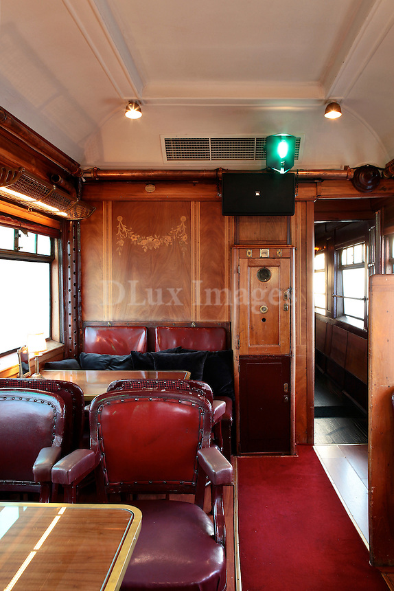 vintage dining room on train wagon