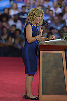 MIAMI, FL - JULY 23: Debbie Wasserman Schultz speaks during a rally for the Democratic Presumptive Nominee for President and former Secretary of State Hillary Clinton and the Democratic candidate for Vice President, U.S. Senator Tim Kaine (D-VA) at the Florida International University Panther Arena in Miami, Florida on July 23, 2016. With two days to go until the Democratic National Convention, Hillary Clinton is campaigning in Florida. Credit: MPI10 / MediaPunch