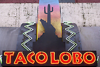 Neon sign of Taco Lobo Mexican restaurant in Bellingham, Washington, USA....