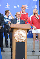 September 13, 2011 (Washington, DC)  Kastles owner Mark Ein speaks before District of Columbia Mayor Vincent Gray issued a proclamation honoring the Washington Kastles at a press conference on Wednesday.  The Kastles won the WTT Championship with a perfect 16-0 season, the first in WTT history.  This marks the team's second championship in three seasons. (Photo by Don Baxter/Media Images International)