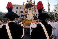 """Roma 17 Luglio 2010.Venerabile Arciconfraternita  del SS.mo Sacramento e di Maria Ss. del Carmine in Trastevere a Roma fondata nell' anno 1539. I Solenni Festeggiamenti e la processione in onore della.Madonna del Carmine detta """"de' Noantri"""". .The Solemn Celebrations and processions in honor of.Madonna del Carmine said """"de 'Noantri""""..http://www.arciconfraternitadelcarmine.it"""