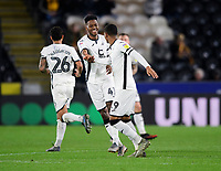 Swansea City's Jordan Garrick, left, celebrates scoring his side's third goal with team-mate Rhian Brewster<br /> <br /> Photographer Chris Vaughan/CameraSport<br /> <br /> The EFL Sky Bet Championship - Hull City v Swansea City -  Friday 14th February 2020 - KCOM Stadium - Hull<br /> <br /> World Copyright © 2020 CameraSport. All rights reserved. 43 Linden Ave. Countesthorpe. Leicester. England. LE8 5PG - Tel: +44 (0) 116 277 4147 - admin@camerasport.com - www.camerasport.com