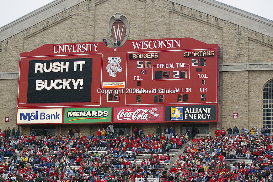 Madison, Wisconsin - 11/15/03. University of Wisconsin scoreboard during the Michigan State game at Camp Randall Stadium. Wisconsin beat Michigan State 56-21. (Photo by David Stluka)