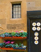 Tuscany, Italy<br /> Flowers and door with hand painted plates in the piazza of the hilltown Pienza, Val d' Orcia valley