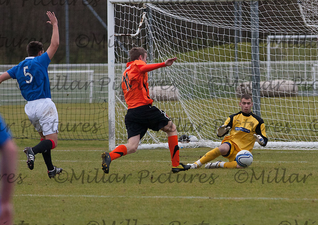 Gary Inglis comes out to save as Robert Thomson rushes in