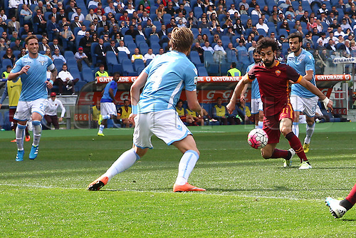 03.04.2016. Stadium Olimpico, Rome, Italy.  Serie A football league. Derby Match SS Lazio versus AS Roma. Mohamed Salh with a close miss