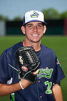 Vermont Lake Monsters pitcher Will Gilbert (21) poses for a photo before a game against the Auburn Doubledays on July 13, 2016 at Falcon Park in Auburn, New York.  Auburn defeated Vermont 8-4.  (Mike Janes/Four Seam Images)