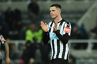 Ciaran Clark of Newcastle United applauds fans at the final whistle during Newcastle United vs Swansea City, Premier League Football at St. James' Park on 13th January 2018