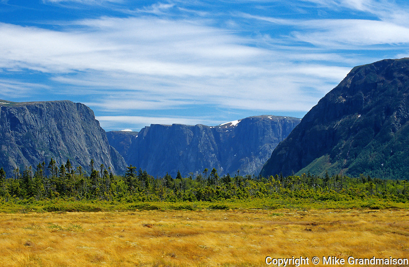 Inland fiords and Long Range mountains at Western Brook Pond<br /> Gros Morne National Park<br /> Newfoundland & Labrador<br /> Canada