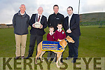 Kevin Horgan and Aaron Horgan, Glenderry NS with Principal Gerald Pierse, Mayor of Kerry John Brassil, Declan Dowling, Kingdom Greyhound, and Edmond Harty of Dairymaster  launch the Glenderry National school fundraising night at the Dogs in the Kingdom Greyhound stadium on Saturday 23rd May