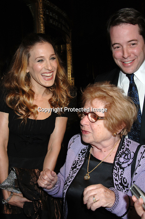 Sarah Jessica Parker and Matthew Broderick with Dr Ruth Westheimer ..at The American Theatre Wing's Annual Spring Gala honoring Matthew Broderick and Nathan Lane on ..April 10, 2006 at Cipriani 42nd Street. ..Robin Platzer, Twin Images