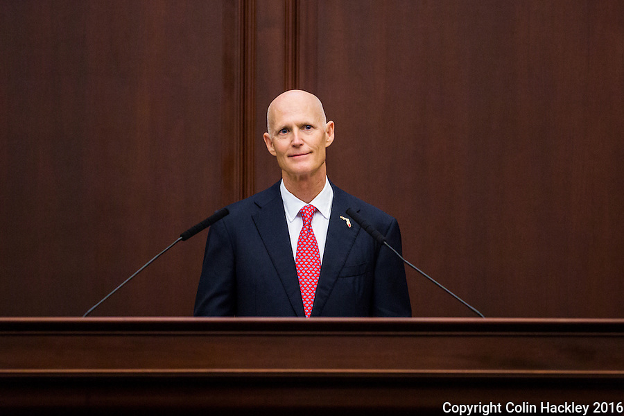 TALLAHASSEE, FLA. 1/12/16-Gov. Rick Scott delivers the state of the state address Tuesday at the Capitol in Tallahassee.<br /> <br /> COLIN HACKLEY PHOTO
