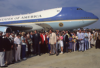 Camp Springs, Maryland, USA,  1991<br /> President George H.W. Bush gathers with his crew mates from WWII and their families before boarding Air Force One at Andrews Air Force Base in Maryland. Credit: Mark Reinstein/MediaPunch