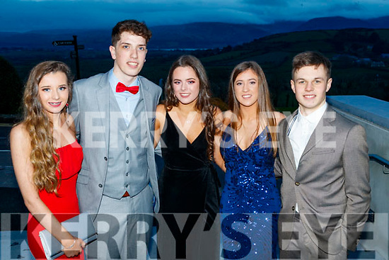 Lisa Costello, Oliver Hart, Sarah Healy, Leah Browne and Harry Emerson Mercy Mounthawk Secondary School, Tralee, enjoying the TY Ball at Ballyroe Heights Hotel, Tralee, on Saturday night last.
