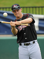 Outfielder Brady Shoemaker (21) of the Kannapolis Intimidators, Class A affiliate of the Chicago White Sox, prior to a game against the Greenville Drive on May 26, 2011, at Fluor Field at the West End in Greenville, S.C. The game was postponed due to rain. (Tom Priddy / Four Seam Images)