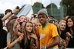 London, UK on Sunday 31st August, 2014. Mazzimaz with fans during the Soccer Six charity celebrity football tournament at Mile End Stadium, London.