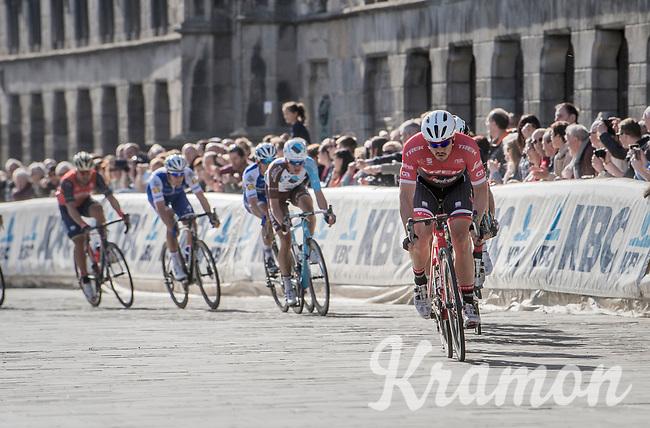 John Degenkolb (DEU/Trek-Segafredo) leading the race in the town center of Ieper<br /> <br /> 79th Gent-Wevelgem 2017 (1.UWT)<br /> 1day race: Deinze &rsaquo; Wevelgem - BEL (249km)