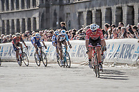 John Degenkolb (DEU/Trek-Segafredo) leading the race in the town center of Ieper<br /> <br /> 79th Gent-Wevelgem 2017 (1.UWT)<br /> 1day race: Deinze › Wevelgem - BEL (249km)