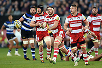 Lewis Ludlow of Gloucester Rugby passes the ball. Aviva Premiership match, between Bath Rugby and Gloucester Rugby on October 29, 2017 at the Recreation Ground in Bath, England. Photo by: Patrick Khachfe / Onside Images