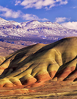 Close up view of Painted Hills after melted snowfall. John Day Fossil Beds National Monument, Oregon