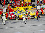 Clint Bowyer, driver of the (33) Cheerios/Hamburger Helper Chevrolet, makes a pit stop during the Samsung Mobile 500 Sprint Cup race at Texas Motor Speedway in Fort Worth,Texas.