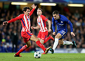 5th December 2017, Stamford Bridge, London, England; UEFA Champions League football, Chelsea versus Atletico Madrid; Eden Hazard of Chelsea runs past Stefan Savic of Atletico Madrid