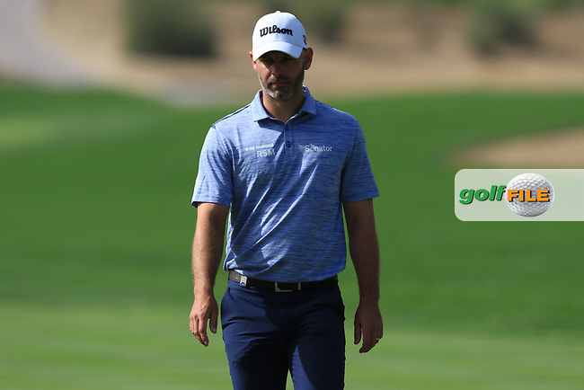 Paul Waring (ENG) on the 2nd during Round 4 of the Omega Dubai Desert Classic, Emirates Golf Club, Dubai,  United Arab Emirates. 27/01/2019<br /> Picture: Golffile | Thos Caffrey<br /> <br /> <br /> All photo usage must carry mandatory copyright credit (&copy; Golffile | Thos Caffrey)