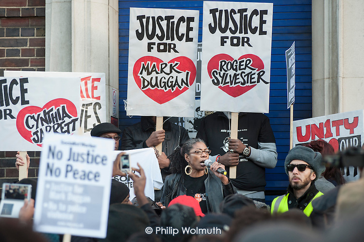 Marcia Rigg, twin sister of Sean Rigg, who died in police custody in Brixton in 2008.  No Justice, No Peace vigil outside Tottenham Police Station in support of the family of Mark Duggan, whose killing by armed police sparked the 2011 riots, and in memory of others who have died during arrest or in poice custody.