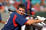 14 March 2006: Larry Broadway, first baseman for the Washington Nationals, awaits his at bat in the dugout during a Spring Training game against the Florida Marlins. The Marlins defeated the Nationals 2-1 at Space Coast Stadium, in Viera, Florida...Mandatory Photo Credit: Ed Wolfstein..