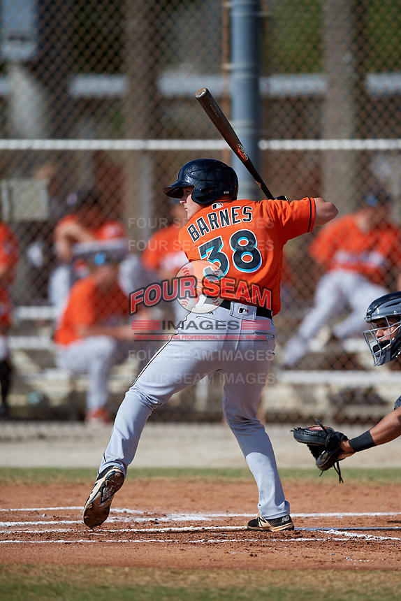 Miami Marlins Jared Barnes (38) during a Minor League Spring Training Intrasquad game on March 27, 2018 at the Roger Dean Stadium Complex in Jupiter, Florida.  (Mike Janes/Four Seam Images)