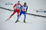 HOLMENKOLLEN, OSLO, NORWAY - March 16: (R-L) Lari Lehtonen of Finland (FIN) and Simen Hegstad Krueger of Norway (NOR) during the Men 50 km mass start, free technique, at the FIS Cross Country World Cup on March 16, 2013 in Oslo, Norway. (Photo by Dirk Markgraf)