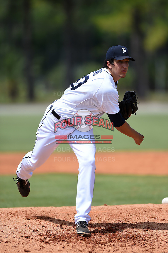 Detroit Tigers pitcher A.J. Ladwig (50) during a minor league spring training game against the Houston Astros on March 25, 2015 at Tiger Town in Lakeland, Florida.  (Mike Janes/Four Seam Images)