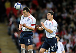 John Terry of England clears with Gareth Barry covering during the Friendly International match at Wembley Stadium, London. Picture date 28th May 2008. Picture credit should read: Simon Bellis/Sportimage