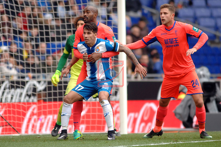 League Santander 2016/2017. Game: 19.<br /> RCD Espanyol vs Granada CF: 3-1.<br /> Foulquier vs Hernan Perez.