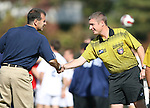 04 November 2007: Duke assistant coach Michael Jeffries (l) and Referee Mark Kadlecik. The Alabama A&M University Bulldogs defeated the Duke University Blue Devils 4-3 at Koskinen Stadium in Durham, North Carolina in an NCAA Division I Men's Soccer game.