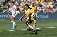 9th November 2019; Bankwest Stadium, Parramatta, New South Wales, Australia; International Womens Friendly Football, Australia versus Chile; Sam Kerr of Australia controls the ball off her chest - Editorial Use