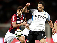 Calcio, Serie A: Bologna, stadio Renato Dall'Ara, 19 settembre 2017.<br /> Inter Milan's Danilo D'ambrosio in action with Adam Masina (l) during the Italian Serie A football match between Bologna and Inter Milan at Bologna's Renato Dall'Ara stadium, September 19, 2017.<br /> UPDATE IMAGES PRESS/Isabella Bonotto