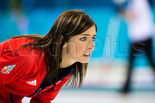 19.02.2014 Sochi, Krasnodar Krai, Russia.   Great Britain skip Eve MUIRHEAD looks concerned during the semifinal of the Women's Curling competition between Great Britain and Canada from the Ice Cube Curling Centre, Coastal Clustre - XXII Olympic Winter Games