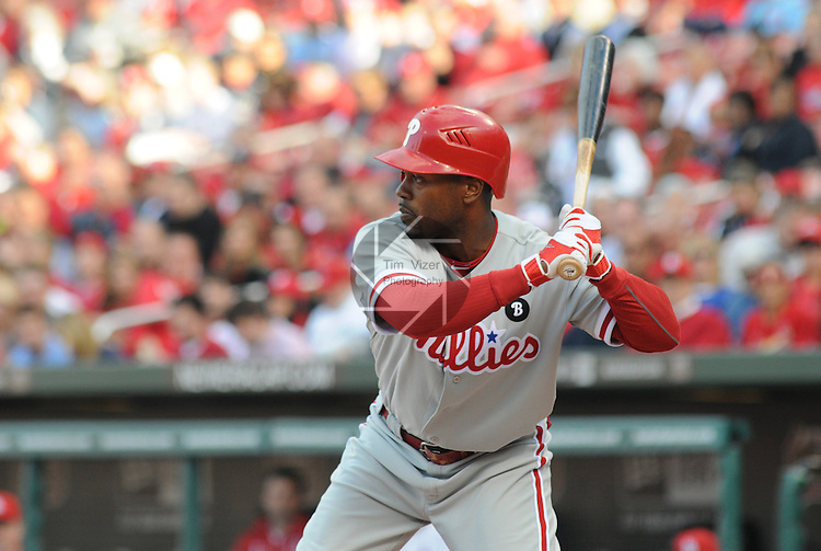 16 May 2011                             Philadelphia Phillies shortstop Jimmy Rollins (11) during his first at-bat.  The St. Louis Cardinals defeated the Philadelphia Phillies 3-1 on Monday May 16, 2011 in the first game of a two-game series at Busch Stadium in downtown St. Louis.
