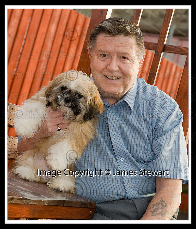 02/12/2008  Copyright Pic: James Stewart.File Name : sct_jspa01_bil_munnoch.BILL MUNNOCH FROM FALKIRK WITH SHIH-TZU, HAMISH. MR MUNNOCH HAS OFFERED HAMISH TO AMERICAN PRESIDNT ELECT BARAK OBAMA AS A PET FOR HIS CHILDREN......James Stewart Photo Agency 19 Carronlea Drive, Falkirk. FK2 8DN      Vat Reg No. 607 6932 25.Studio      : +44 (0)1324 611191 .Mobile      : +44 (0)7721 416997.E-mail  :  jim@jspa.co.uk.If you require further information then contact Jim Stewart on any of the numbers above.........
