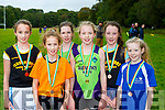 The first six home in the u12 girls race at the Kerry Juvenile Cross Country championships in Killarney on l-r: Doireann O'Shea Farranfore/Maine Valley, Marina Eager Star of the Laune, Hannah Ryan Killarney VAlley Kathryn Ryan Killarney Valley, Eabha McCarthy Farranfore/Maine Valley, Rachel Mulgrew Tralee Harriers