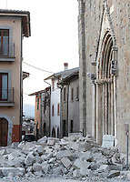 A collapsed church in the village of Amatrice, central Italy, hit by a magnitude 6 earthquake at 3,36 am, 24 August 2016.<br /> Una chiesa distrutta dal terremoto che alle 3,36 del mattino ha colpito Amatrice, 24 agosto 2016.<br /> UPDATE IMAGES PRESS/Isabella Bonotto