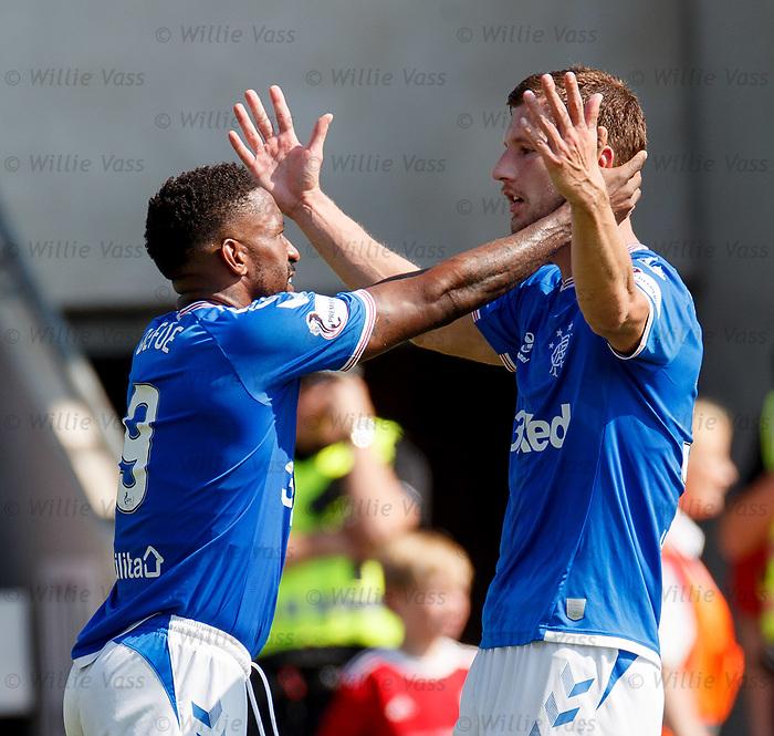 25.08.2019 St Mirren v Rangers: Jermain Defoe celebrates with Borna Barisic