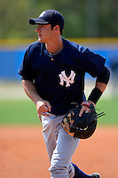 New York Yankees minor league first baseman Daniel Vavrusa #2 during a Spring Training game against the Toronto Blue Jays at the Englebert Complex on March 19, 2013 in Dunedin, Florida.  (Mike Janes/Four Seam Images)