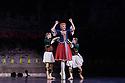Les Ballets Trockadero de Monte Carlo (The Trocks) return to the UK and recives their Ireland premiere during an eight-wekk, twelve venue tour, that opens at the Peacock , London, on 12th September, and concludes at the Grand Opera House, Belfast, on 3rd November. the dancers are: Joshua Thake (Eugenia Repelski), Jack Furlong Jr (Guzella Verbitskaya), Alberto Pretto (Nina Immobilashvili), Roberto Vega (Mikhail Mypansarov), Kevin Garcia (Sergey Legupski), Duane Gosa (Helen Highwaters). Picture shows: Roberto Vega, Joshua Thake, Kevin Garcia, in La Trovatiara Pas de Cinq.