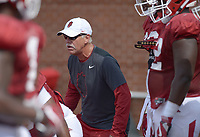 NWA Democrat-Gazette/ANDY SHUPE<br /> Arkansas assistant coach Steve Caldwell directs his players Thursday, Aug. 9, 2018, during practice at the university's practice facility in Fayetteville. Visit nwadg.com/photos to see more photos from practice.